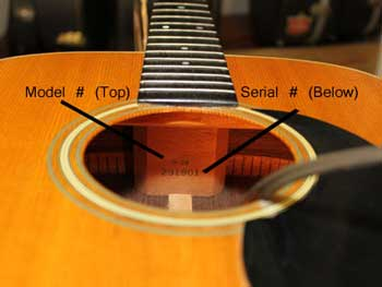 neck block with guitars serial number